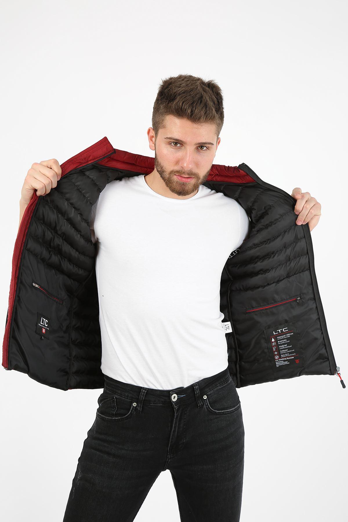 Erkek Dik Yaka Activewear İç Cep Detay Bordo Yelek