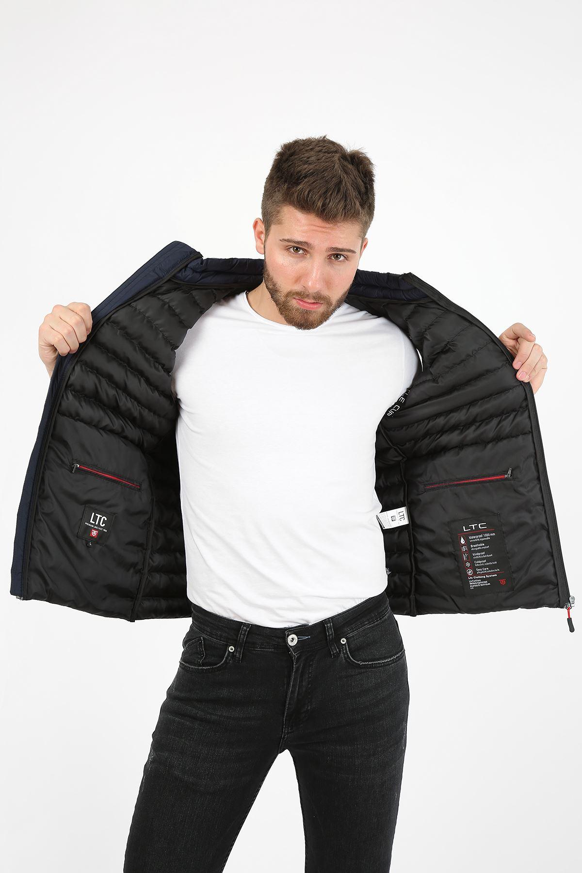 Erkek Dik Yaka Activewear İç Cep Detay Lacivert Yelek