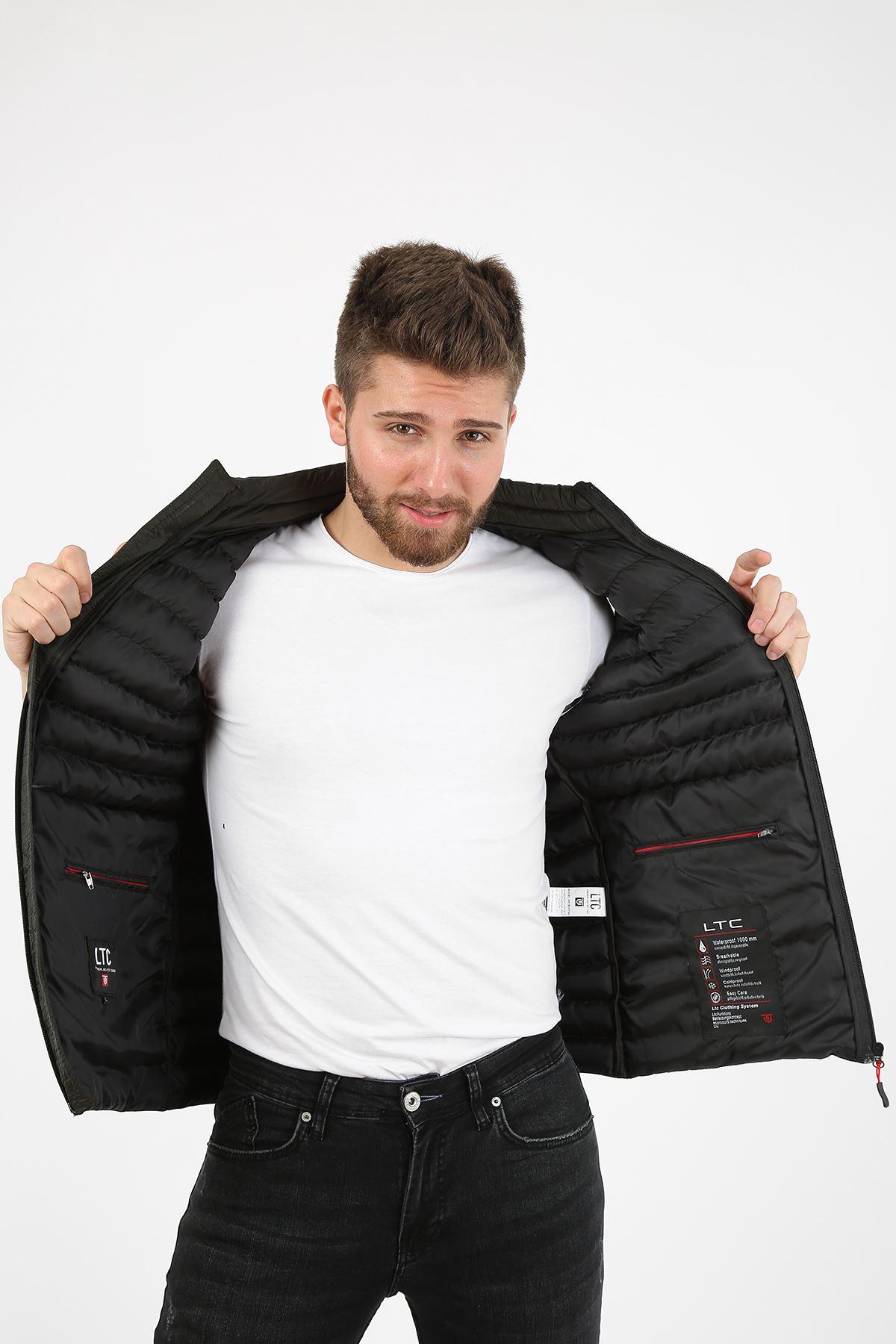 Erkek Dik Yaka Activewear İç Cep Detay Haki Yelek
