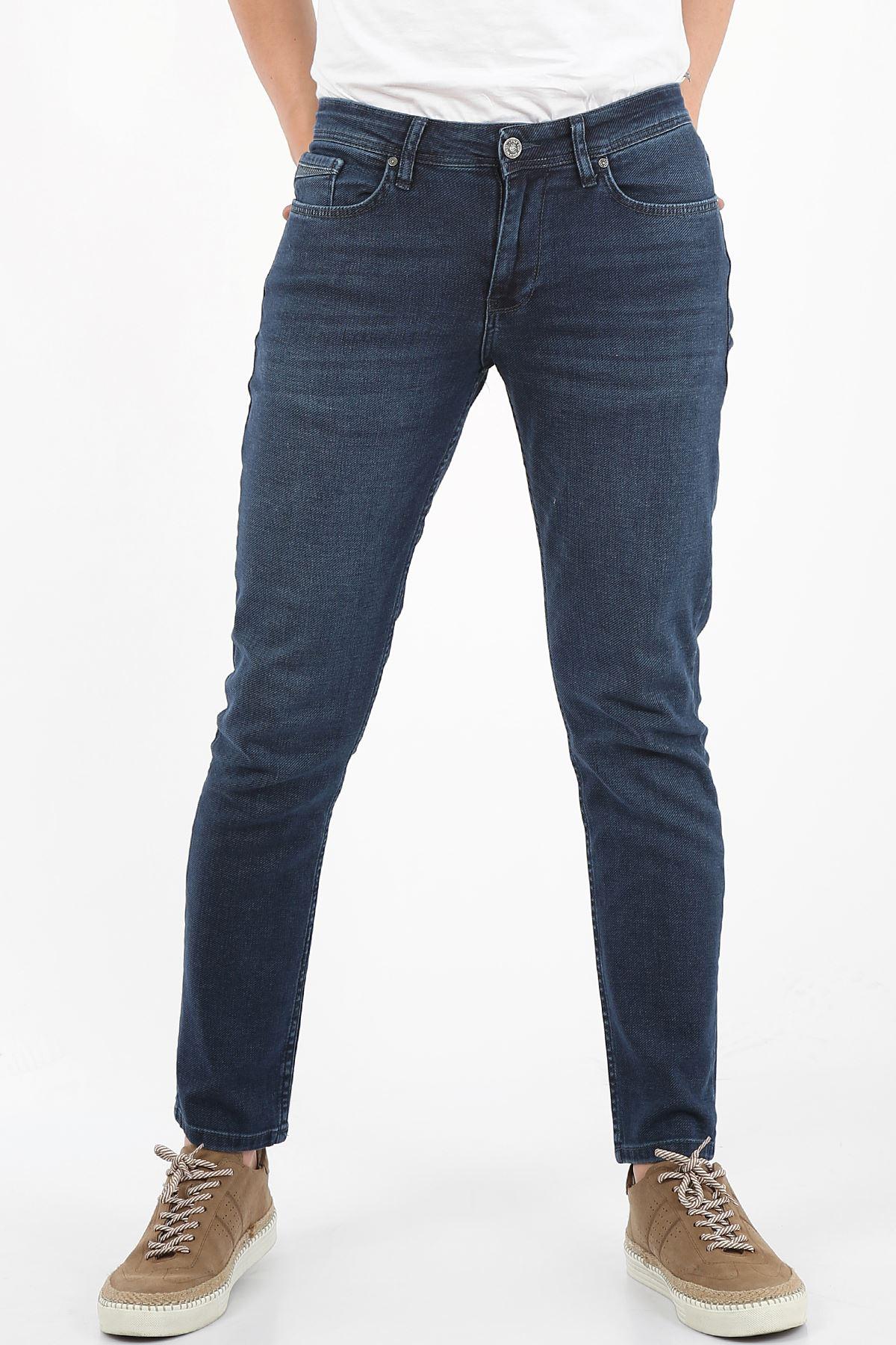 Mavi Yumaşak Doku Yarı Slim Fermuarlı Erkek Jeans Pantolon-SAWYER