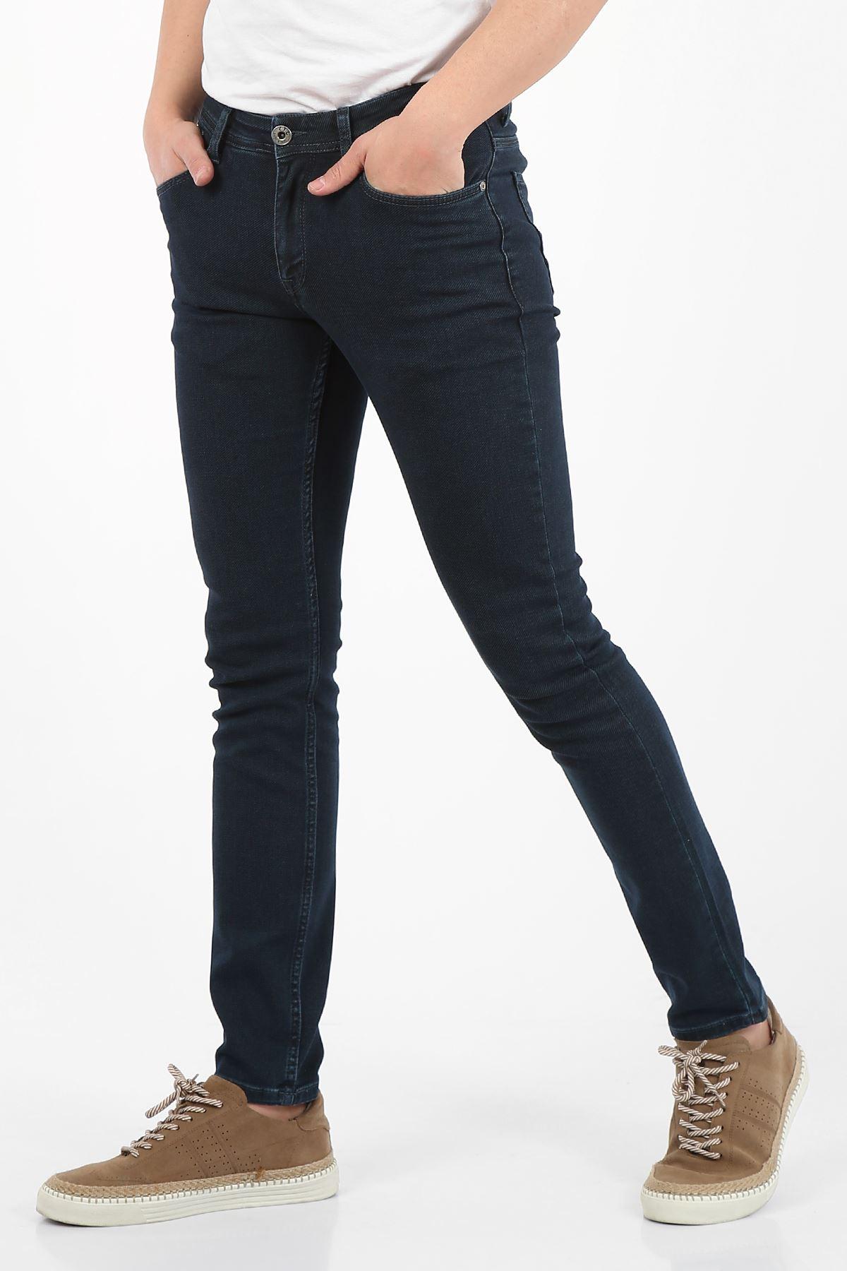 Yeşil Tint Yumaşak Doku Yarı Slim Fermuarlı Erkek Jeans Pantolon-SAWYER
