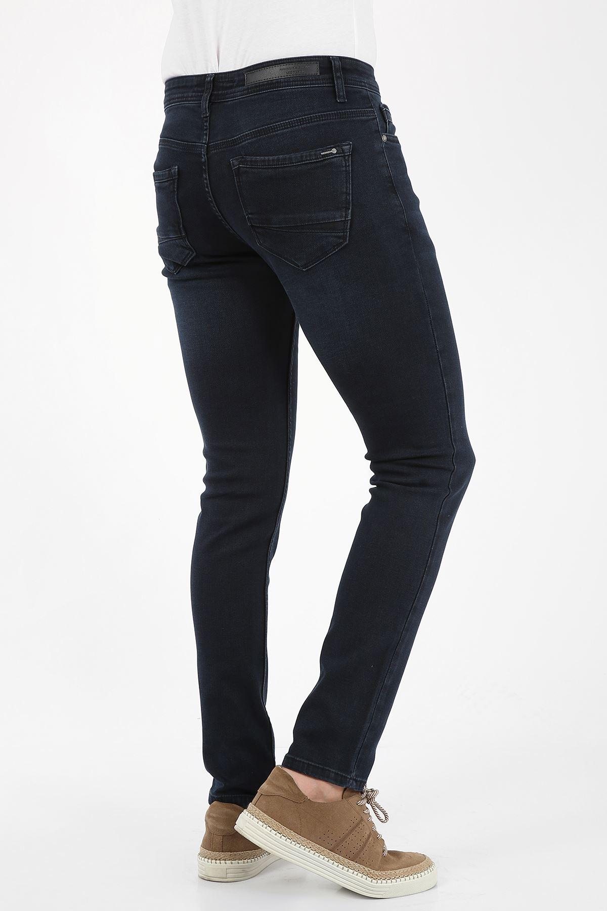 Lacivert Yumaşak Doku Yarı Slim Fermuarlı Erkek Jeans Pantolon-SAWYER