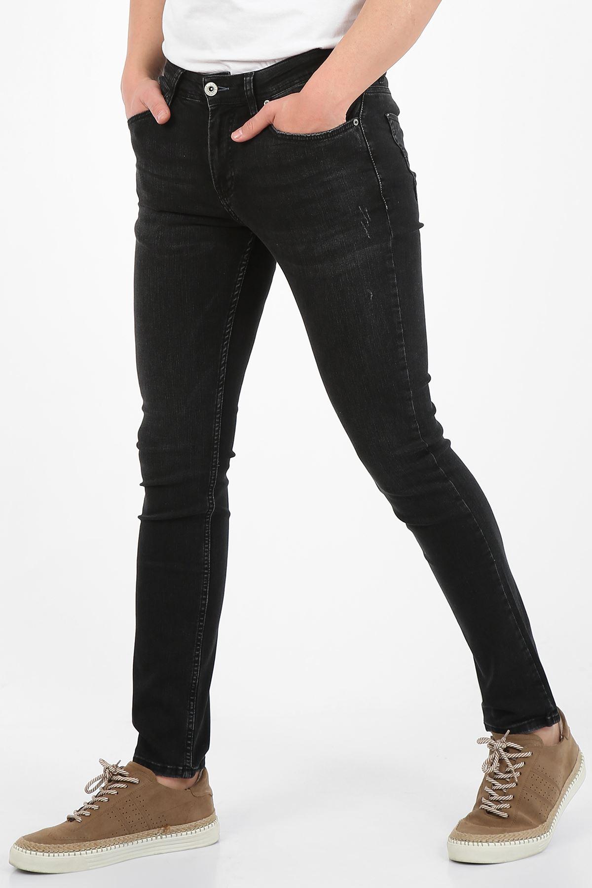 Siyah Slim Fit Fermuarlı Erkek Jeans Pantolon-JONAS