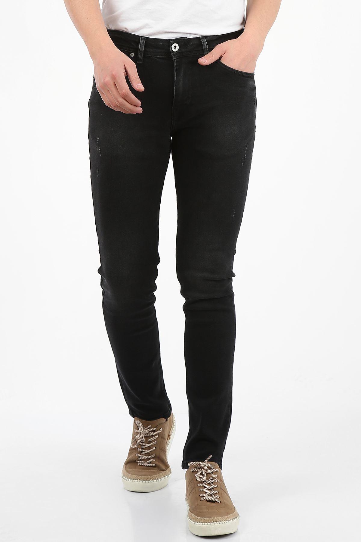 Siyah Yıpratma Slim Fit Fermuarlı Erkek Jeans Pantolon-JONAS