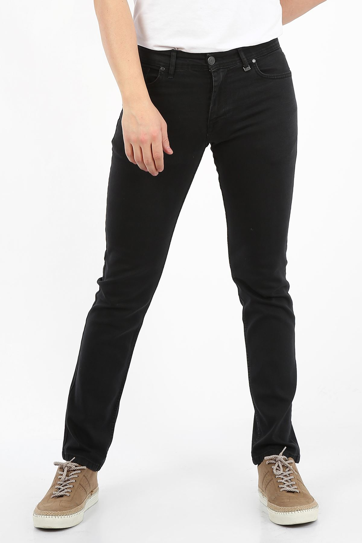 Siyah Regular Fit Fermuarlı Erkek Jeans Pantolon-FARADAY
