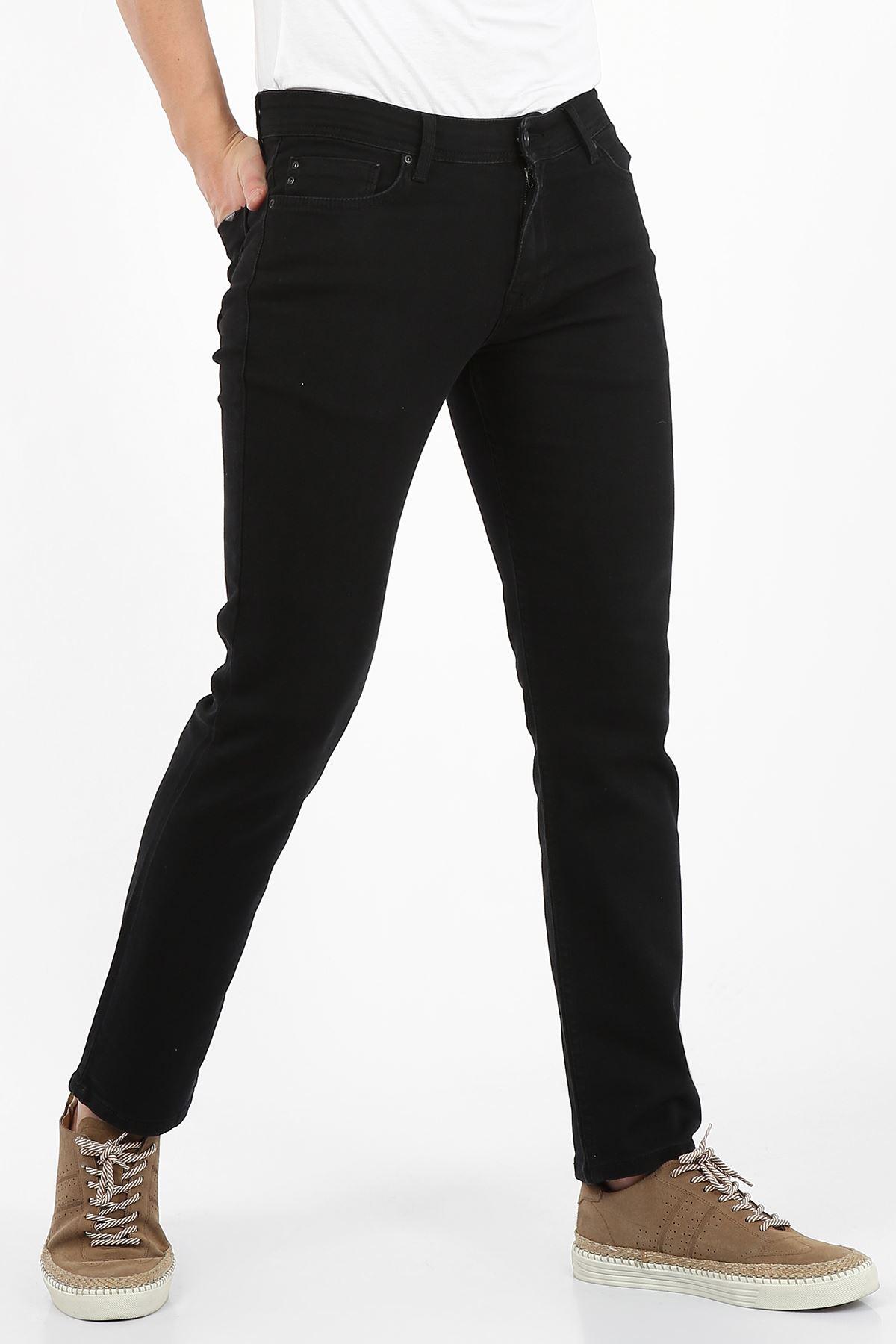 Siyah Yumaşak Doku Yarı Slim Fermuarlı Erkek Jeans Pantolon-SAWYER