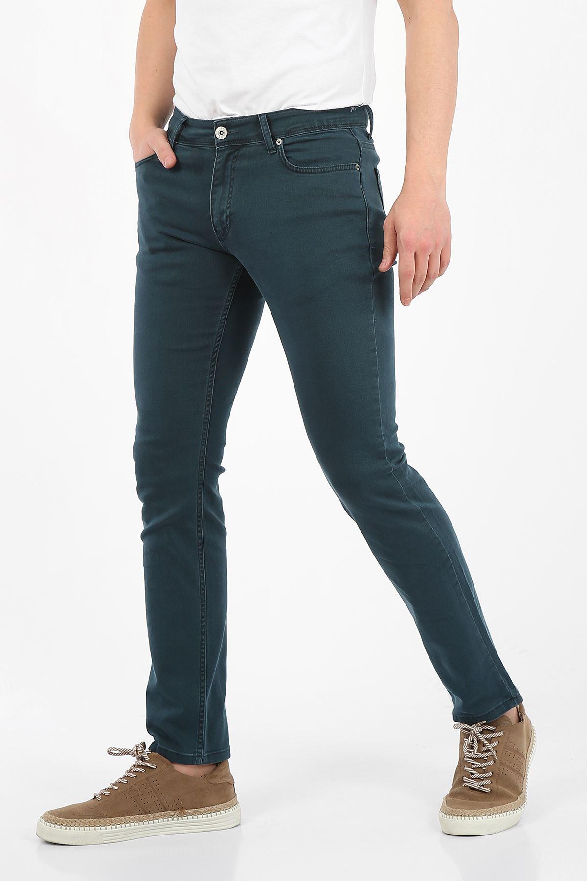 Petrol Regular Fit Fermuarlı Erkek Jeans Pantolon-FARADAY