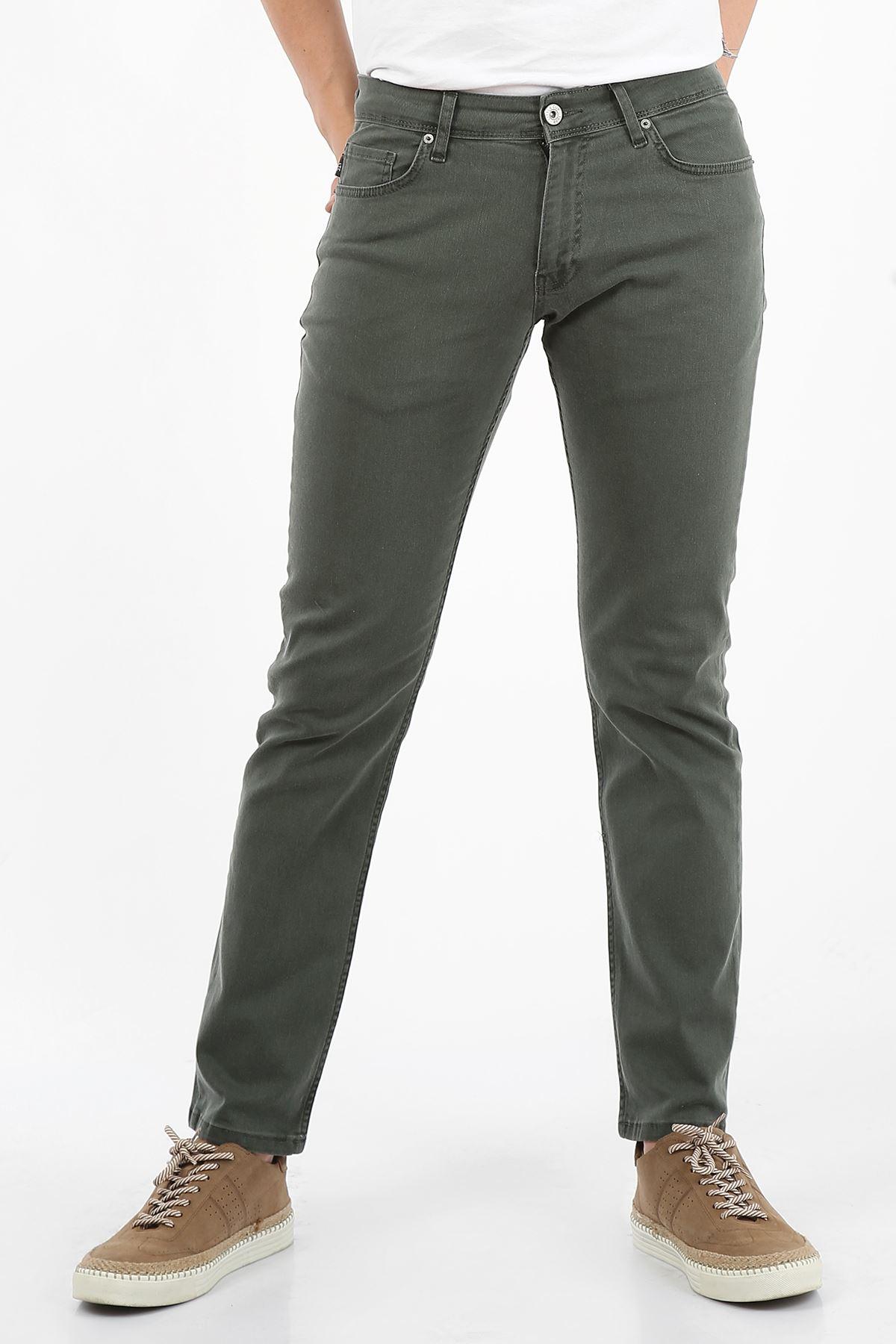 Haki Regular Fit Fermuarlı Erkek Jeans Pantolon-FARADAY