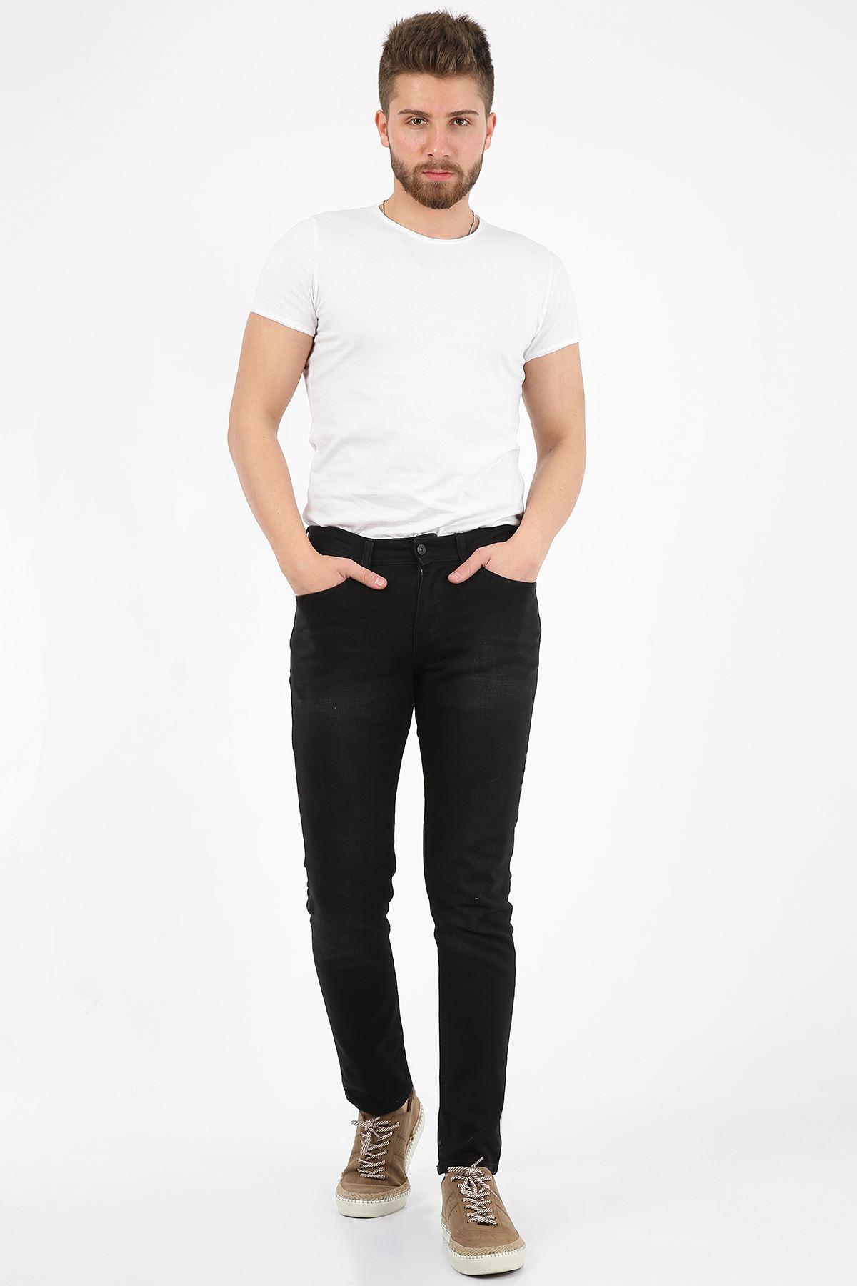 Siyah Yumuşak Doku Slim Fit Fermuarlı Erkek Jeans Pantolon-JONAS