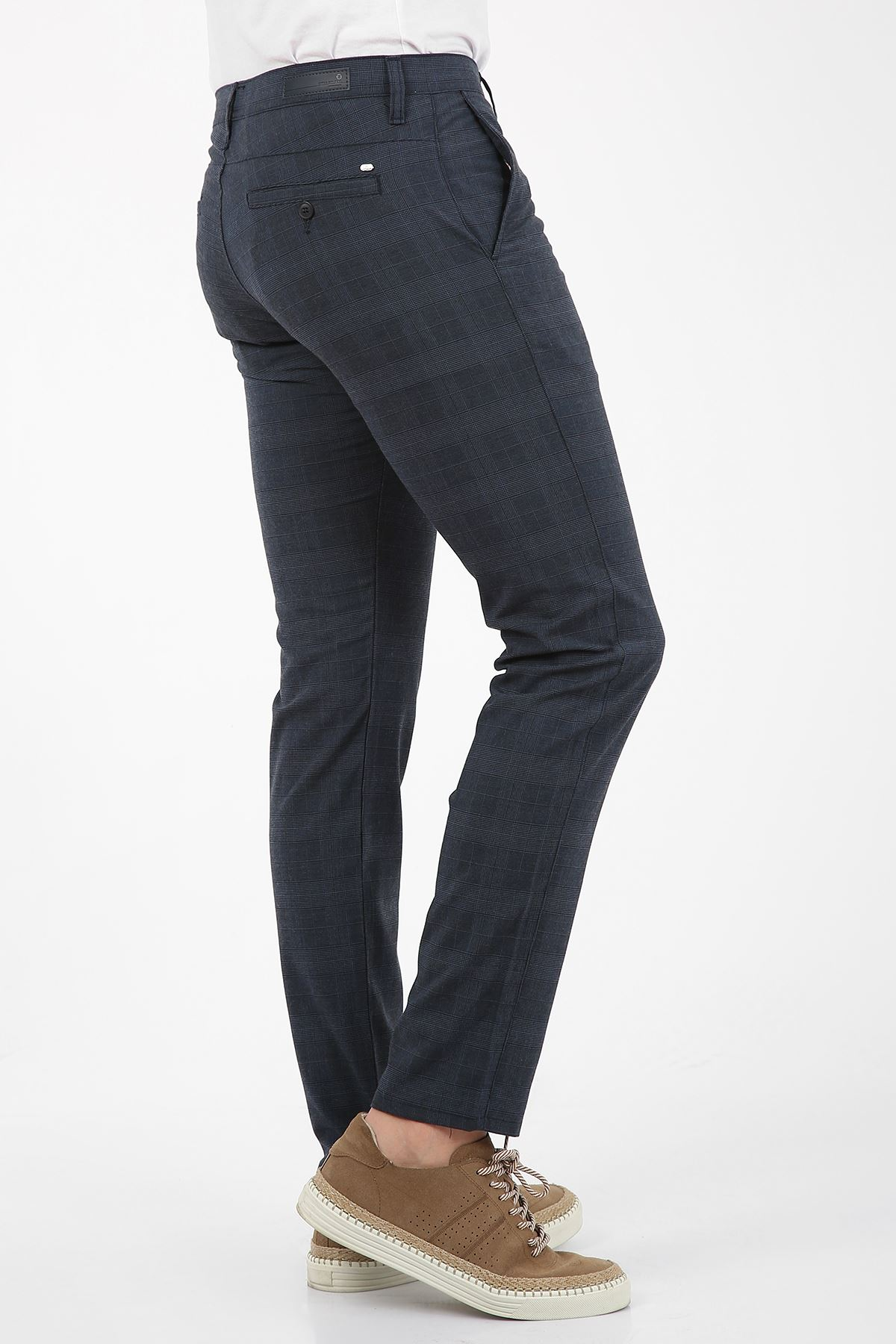 Lacivert Kareli Slim Fit Erkek Chino Pantolon -OLİVER