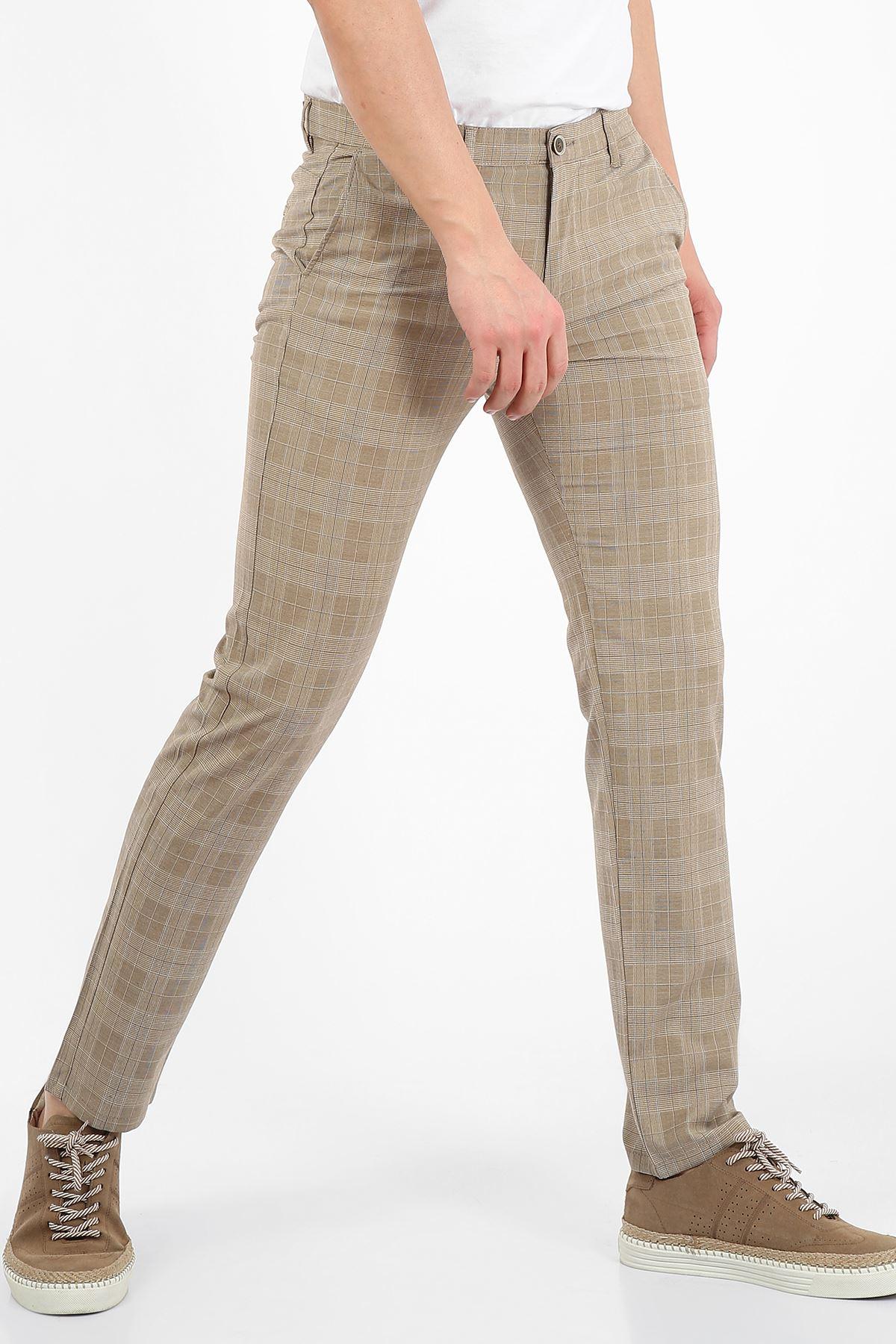 Camel Kareli Slim Fit Erkek Chino Pantolon -OLİVER