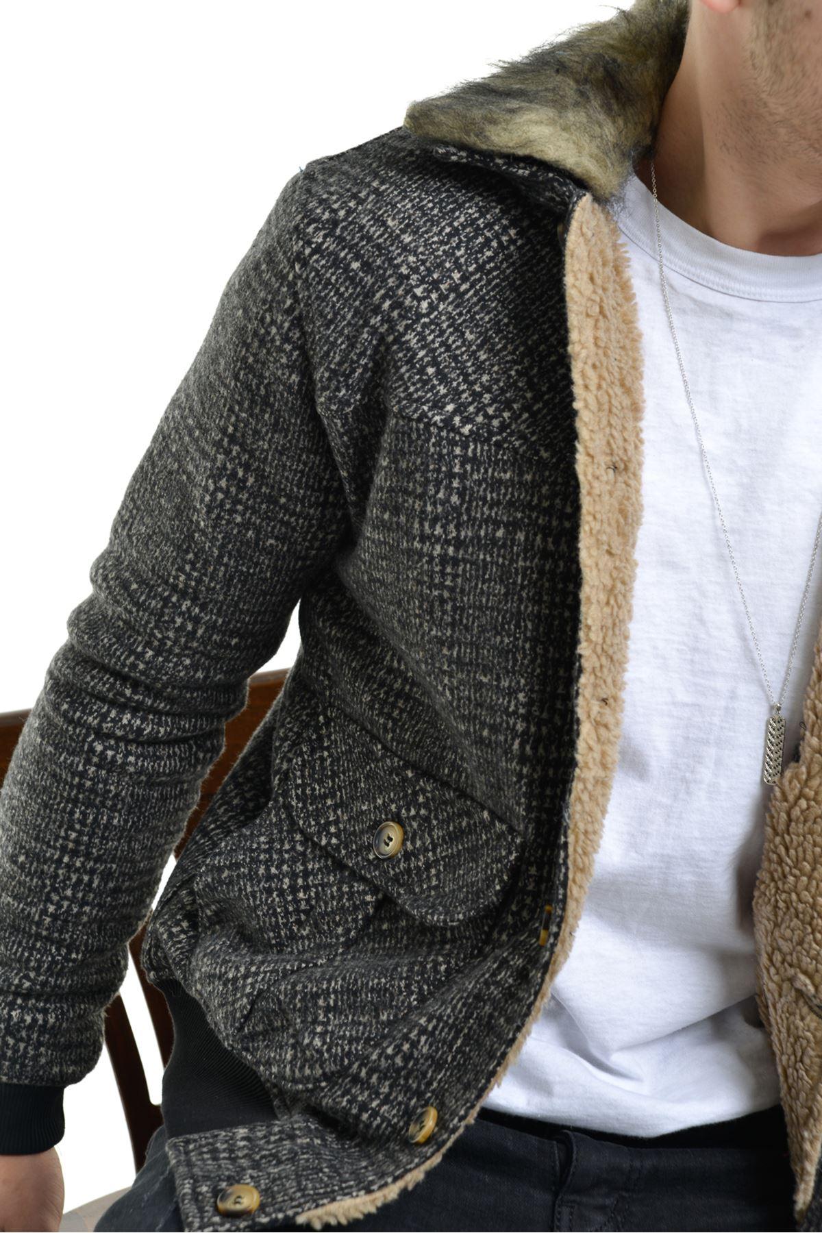 İçi Kürklü Vizon Ekose Jakarlı Düğmeli Çıkarılabilir Yaka Kürklü Ceket