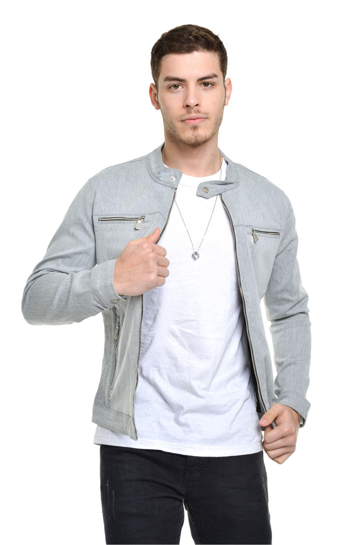 Mevsimlik Fermuar Detay astarlı Premium Erkek Taş Ceket Mont