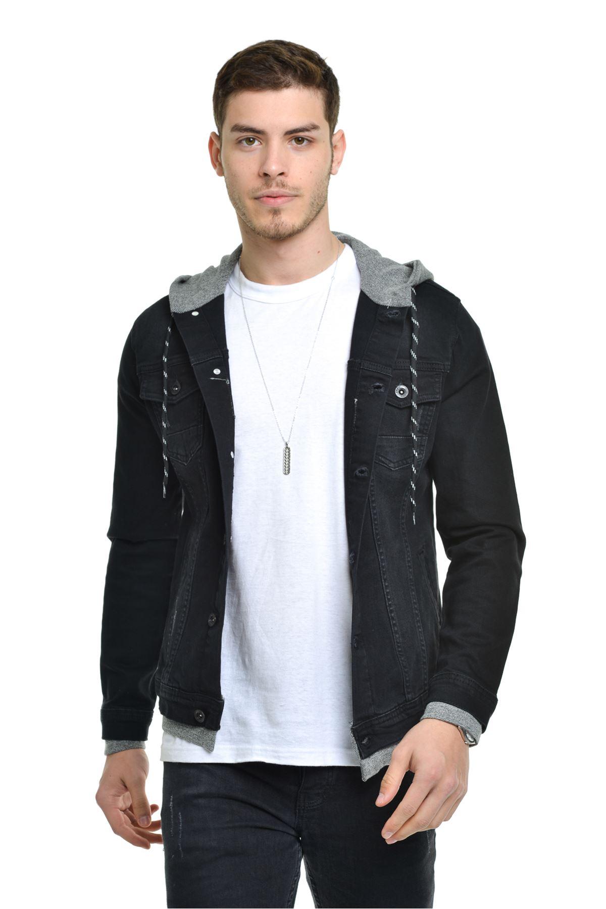 Erkek Kapüşonlu Ribana Detay Yıpratma Siyah Kot Ceket