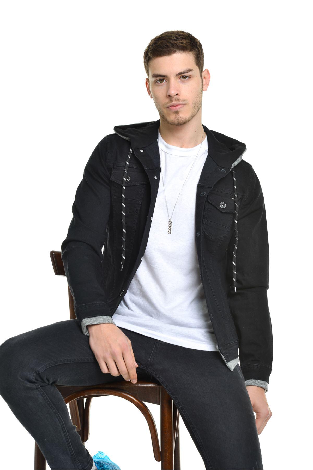 Erkek Kapüşonlu Ribana Detay Siyah Kot Ceket