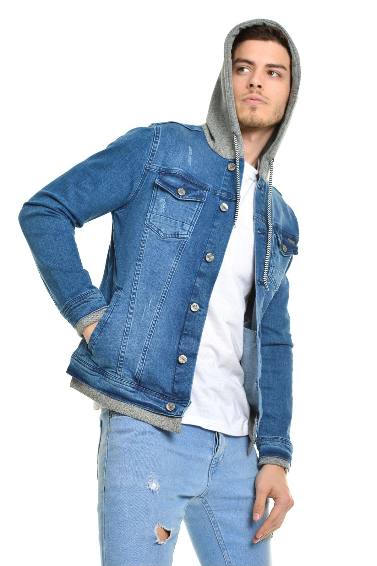 Erkek Kapüşonlu Ribana Detay  Mavi Yıkamalı Kot Ceket