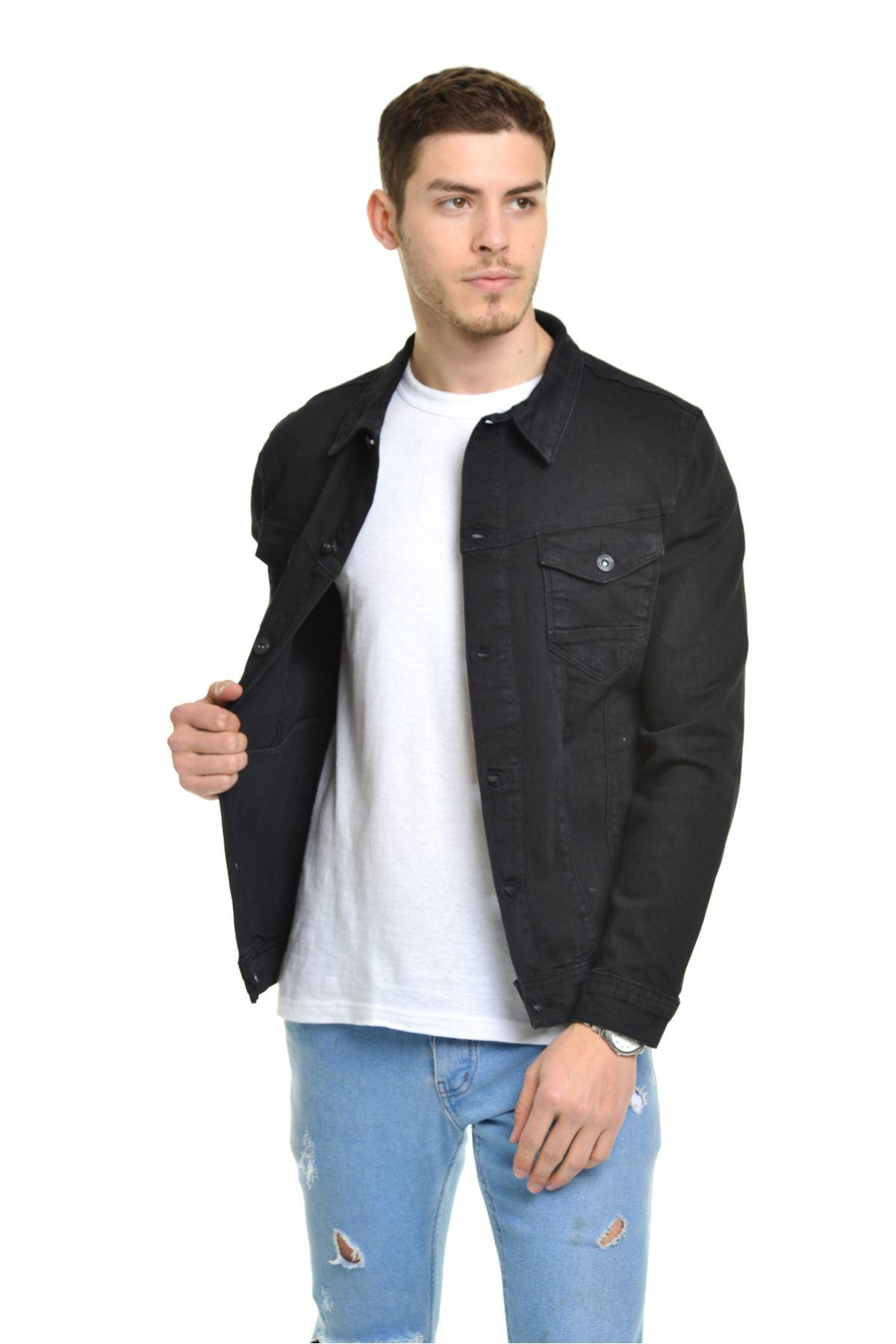 LTC Jeans Yeni Klasik Erkek Siyah Kot Ceket