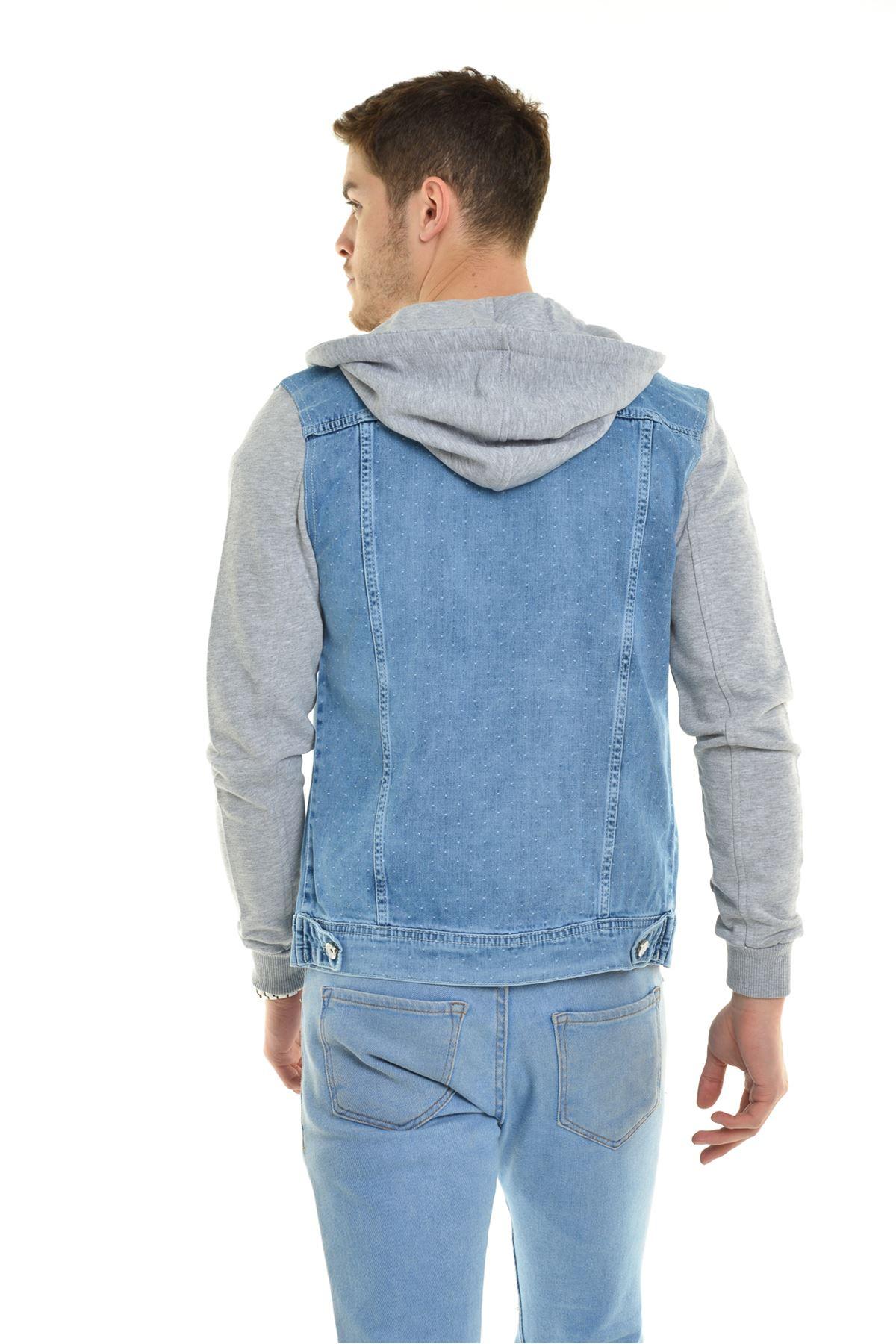 Yıpratmalı Buz Mavisi Kapüşonlu Desenli Kumaş Detay Erkek Kot Ceket