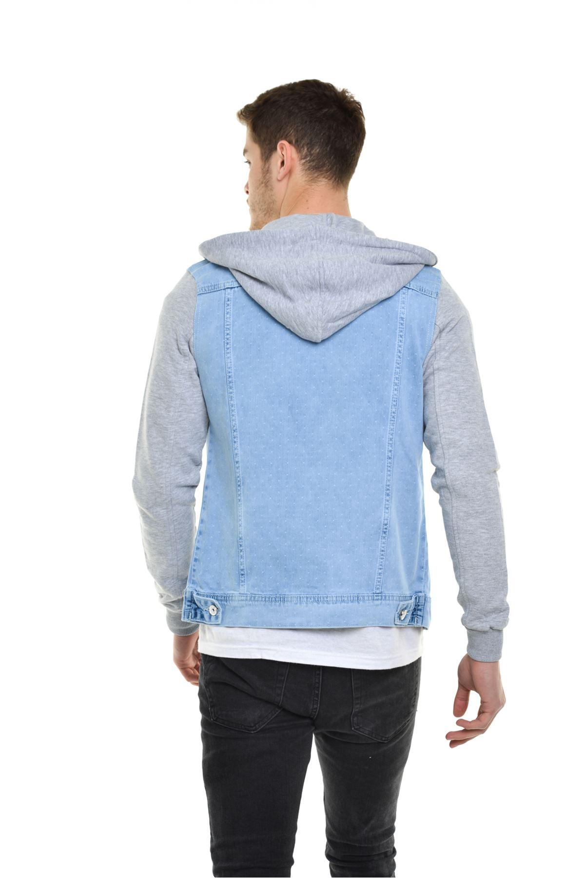 Buz Mavisi Kapüşonlu Desenli Kumaş Detay Erkek Kot Ceket