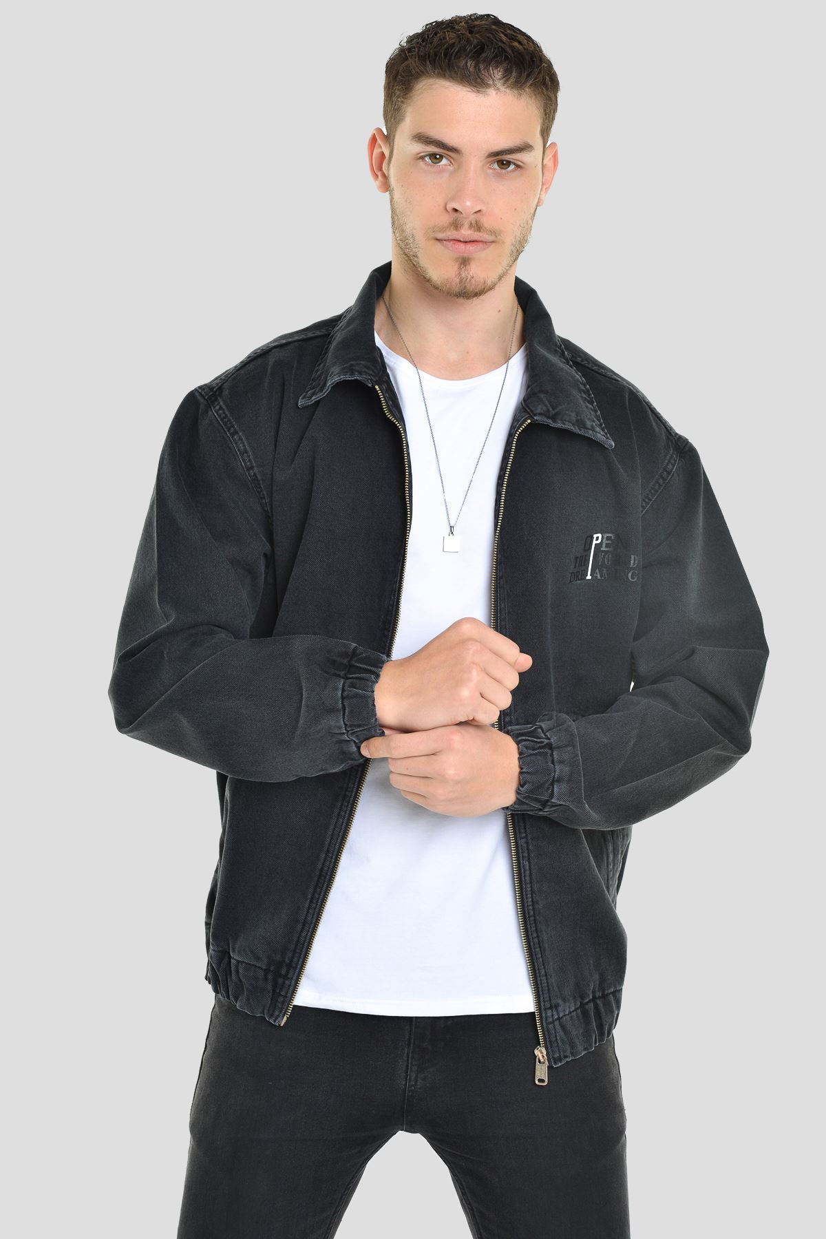 Oversize Siyah Baskılı  Erkek Fermuarlı Bomber Kot Ceket