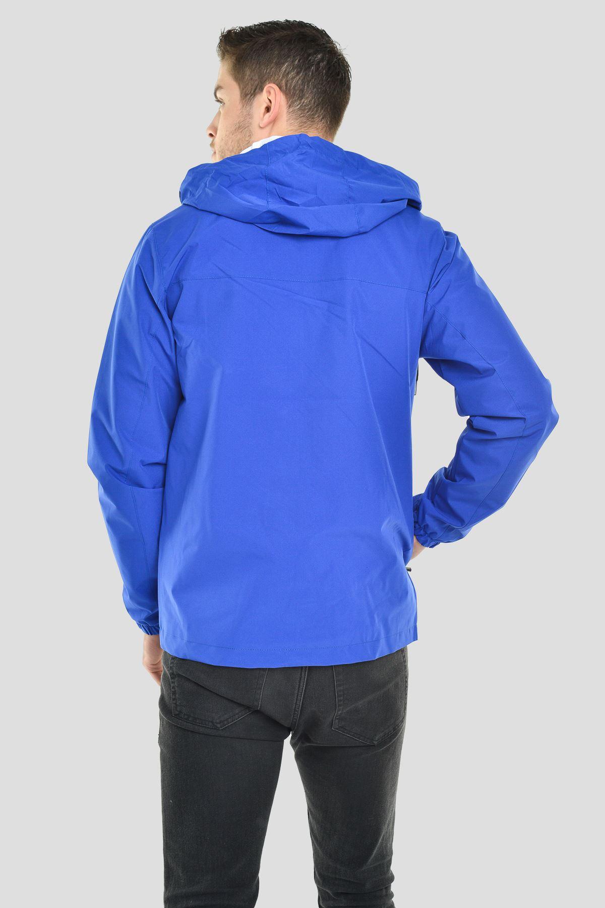 Erkek Kapüşonlu File Astarlı Su Geçirmez Mavi Yağmurluk Mont