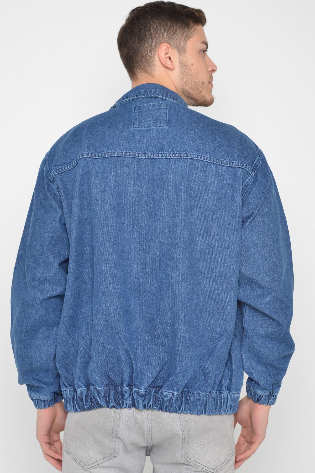 Oversize Mavi Yıkama Baskılı  Erkek Fermuarlı Bomber Kot Ceket