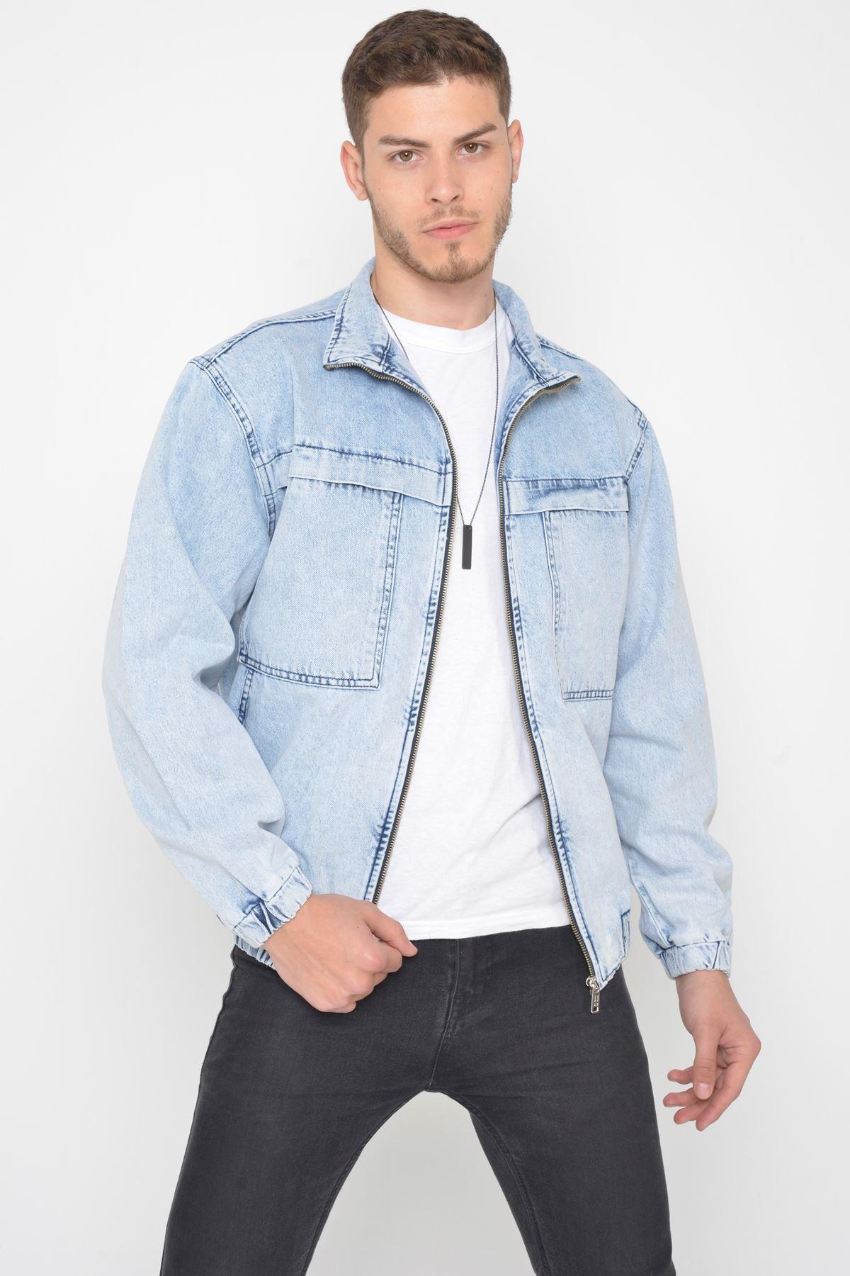 Oversize Buz Mavi Yıkama Modelli Erkek Fermuarlı Bomber Kot Ceket