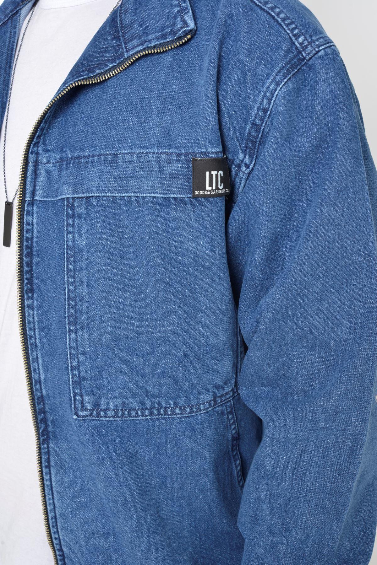 Oversize Mavi Yıkamalı Modelli Erkek Fermuarlı Bomber Kot Ceket
