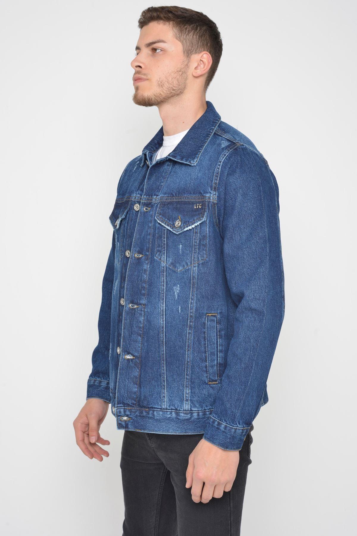Oversize Koyu Mavi Yıkamalı Yıpratmalı Düğmeli Erkek  Kot Ceket