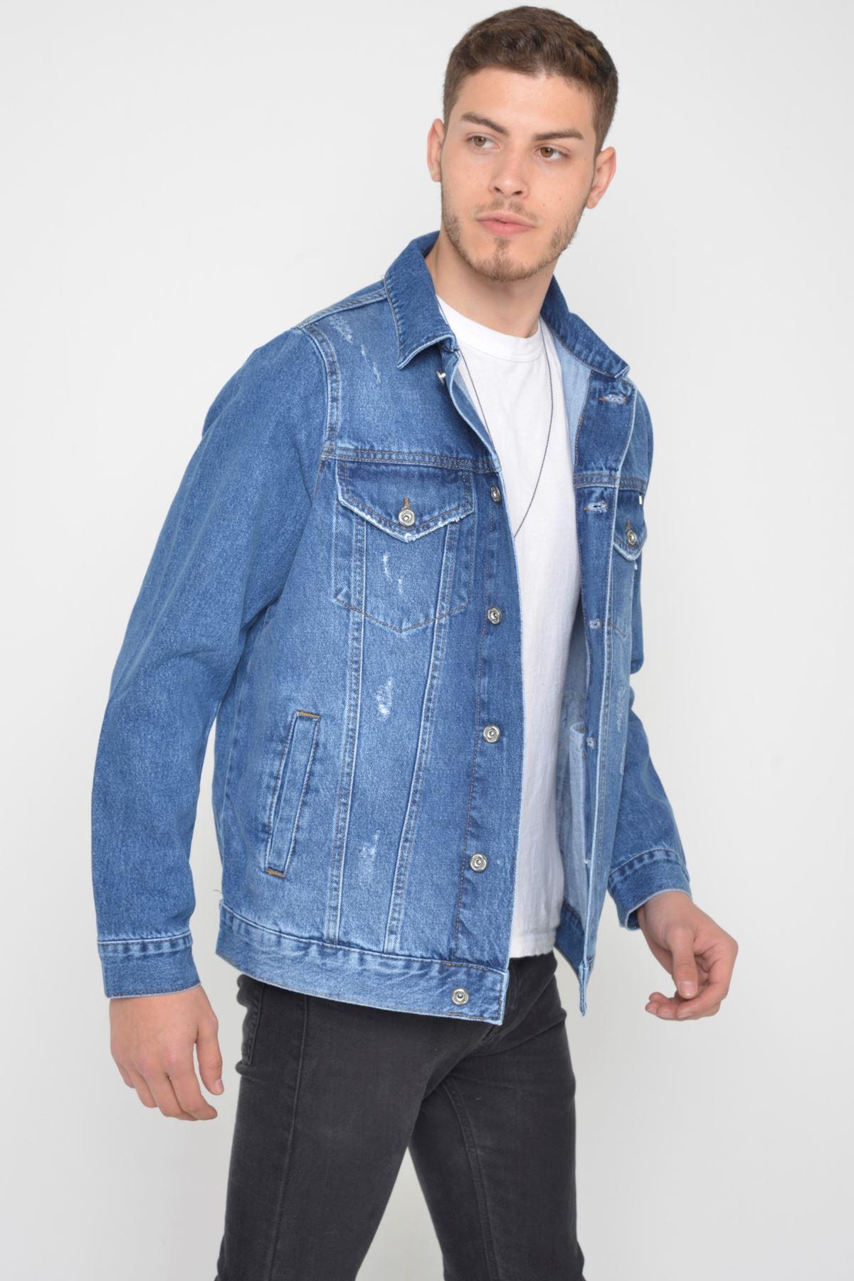 Oversize Mavi Yıkamalı Yıpratmalı Düğmeli Erkek  Kot Ceket