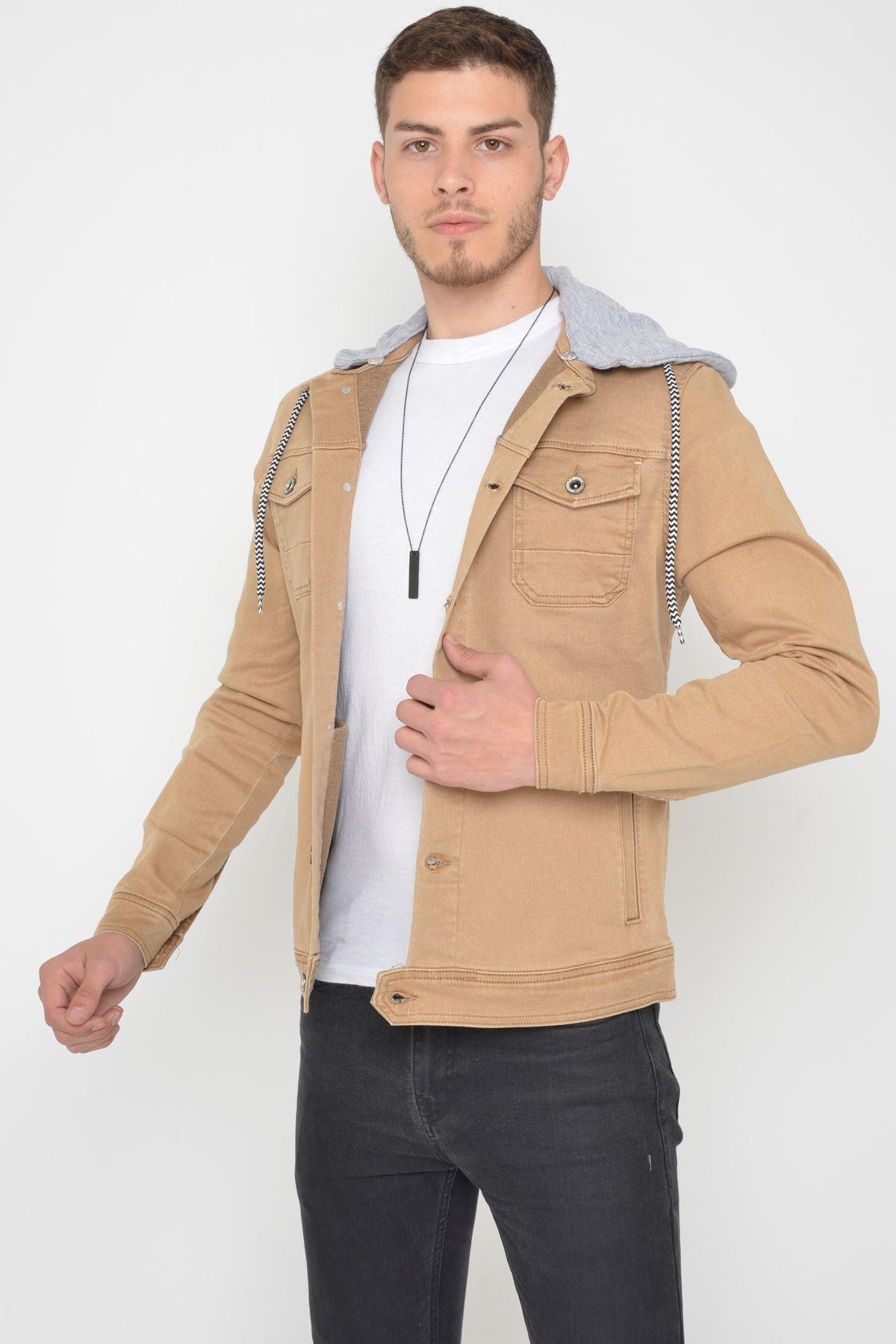 Erkek Çıkarılabilir Kapüşonlu Yıkamalı Camel Kot Ceket