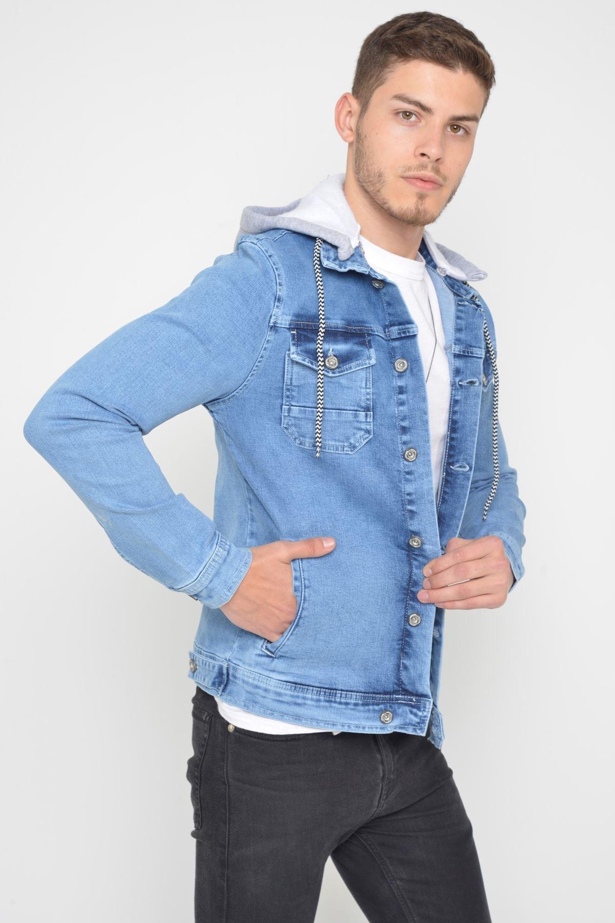 Erkek Çıkarılabilir Kapüşonlu Buz Mavisi Random Yıkamalı Kot Ceket