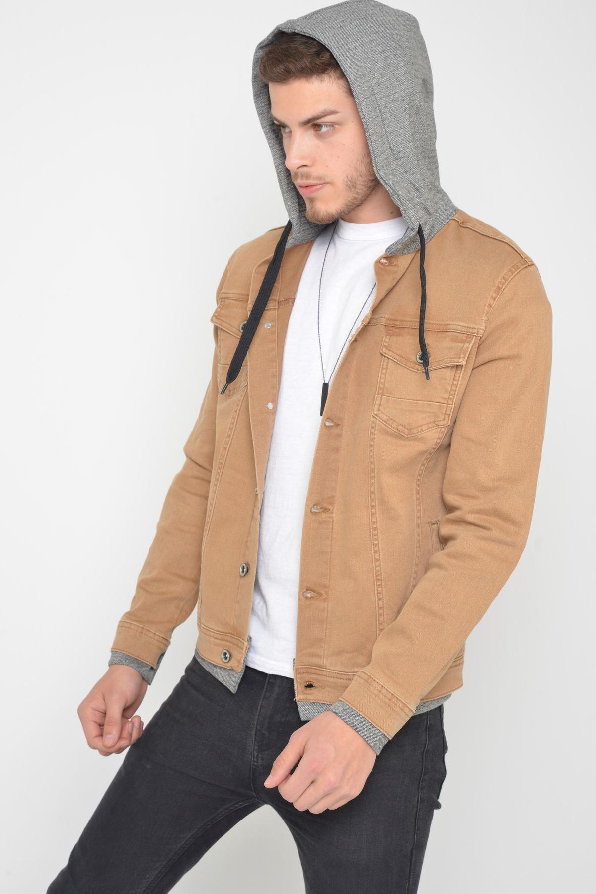 Erkek Kapüşonlu Yıkamalı Camel Kot Ceket