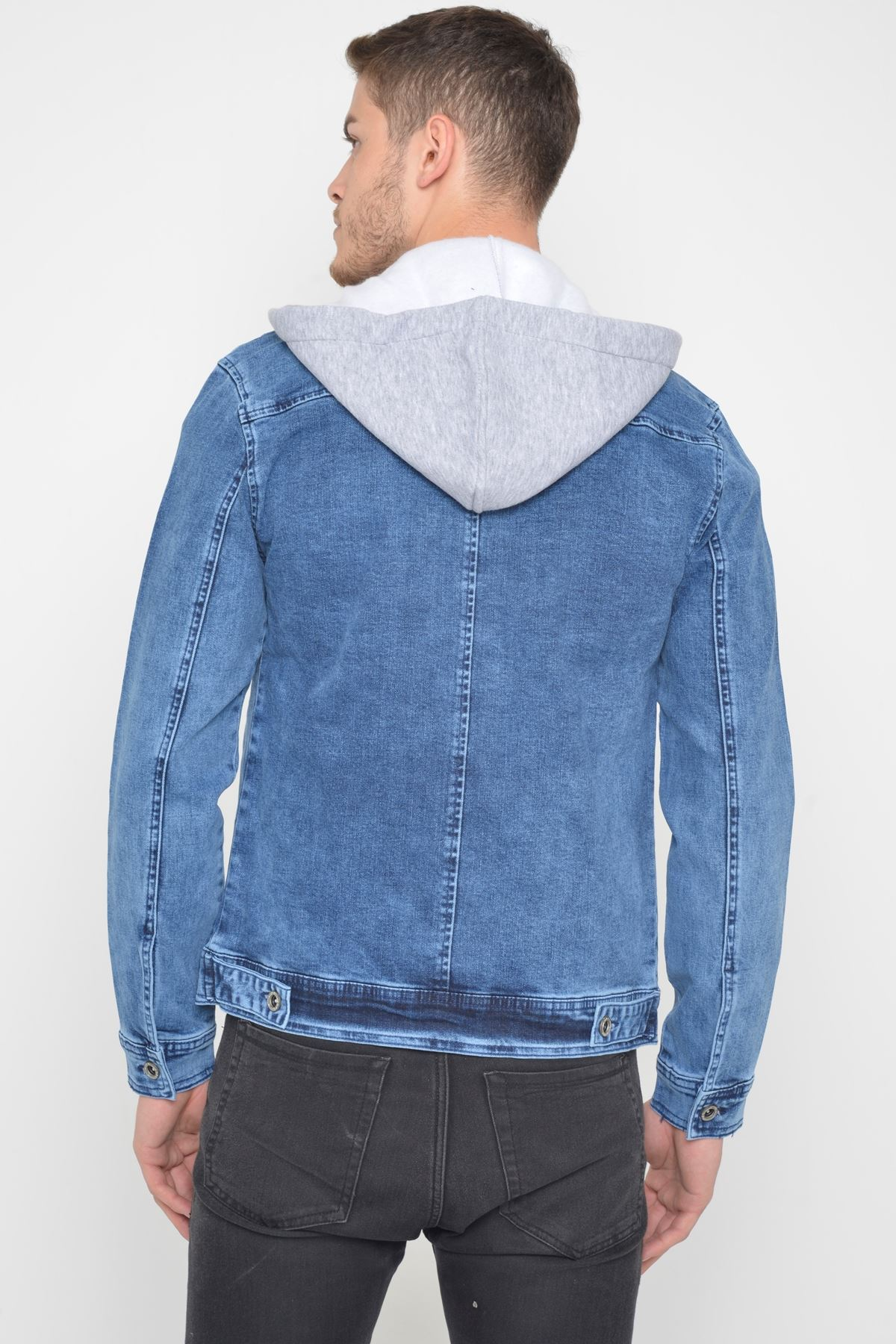 Erkek Çıkarılabilir Kapüşonlu Random Yıkamalı Mavi Kot Ceket