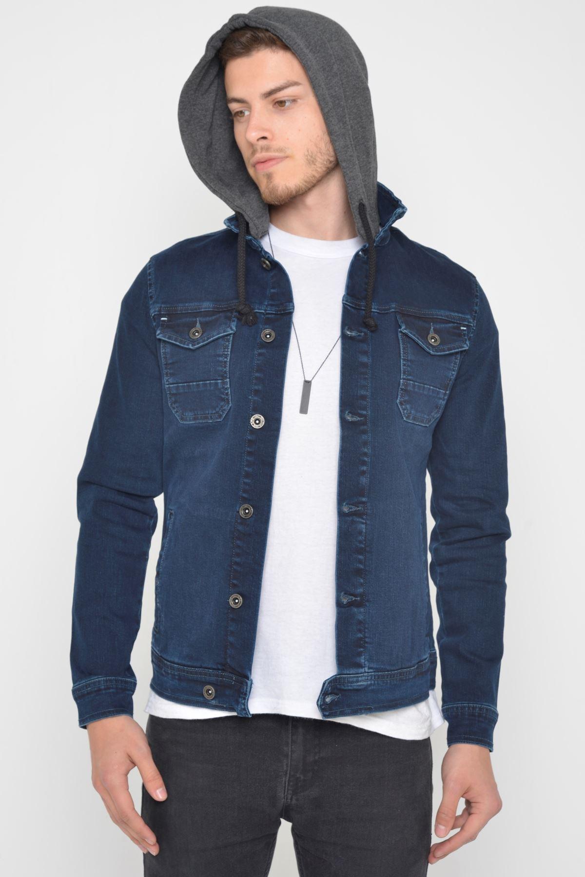 Erkek Çıkarılabilir Kapüşonlu Koyu Mavi Yıkamalı Kot Ceket