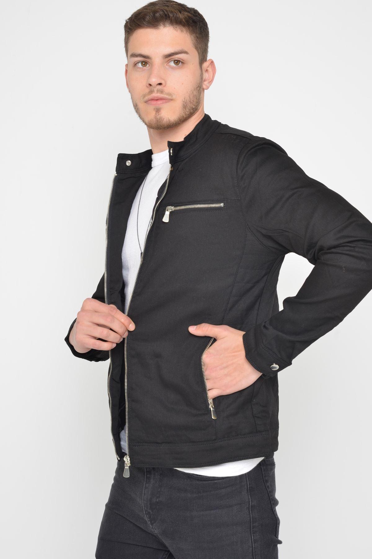 Mevsimlik Fermuar Detay astarlı Premium Erkek Siay Ceket Mont