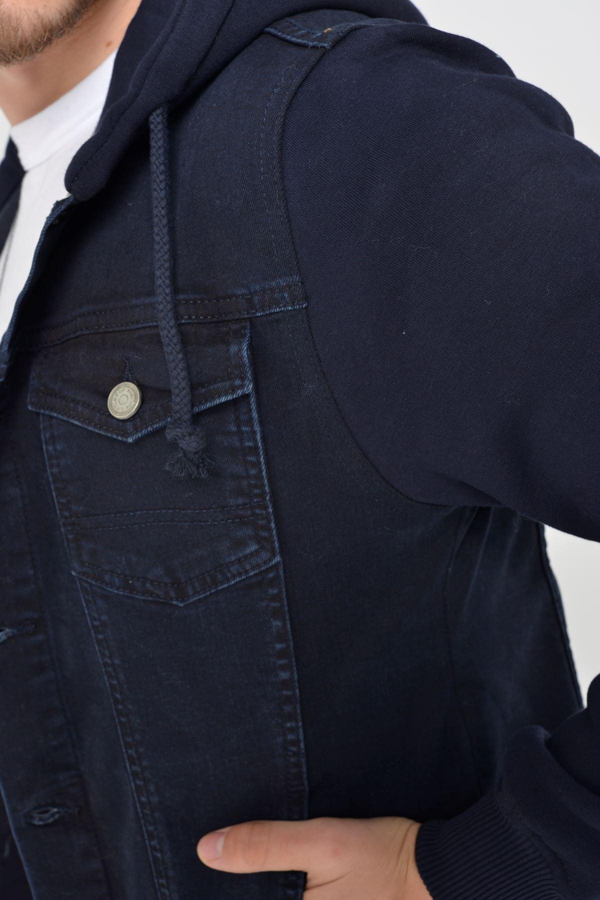 Lacivert Polar Kol Lacivert Kapüşonlu Düğmeli Erkek Kot Ceket