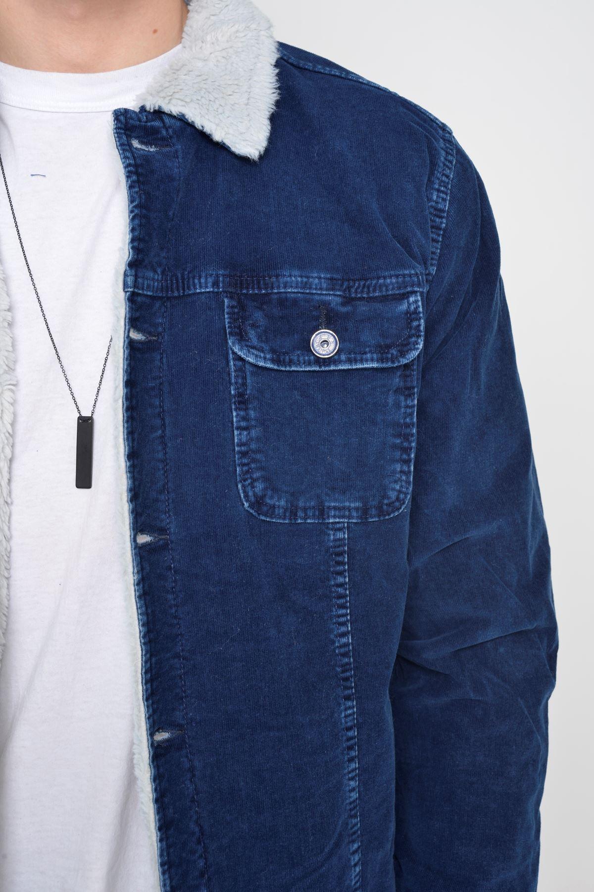 Kadife İçi Kürklü Düğmeli Yıkamalı İndigo Ceket